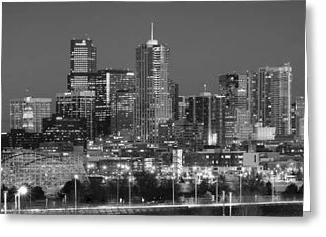 Greeting Card featuring the photograph  Denver Skyline At Dusk Black And White Bw Evening Extra Wide Panorama Broncos  by Jon Holiday