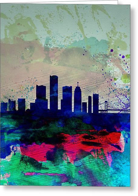 Detroit Watercolor Skyline Greeting Card by Naxart Studio