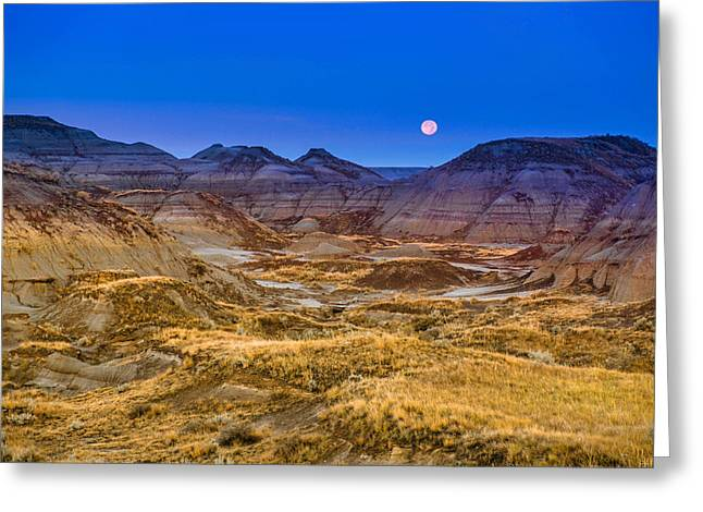Greeting Card featuring the photograph  Dinosaur Harvest Moon by Rob Tullis