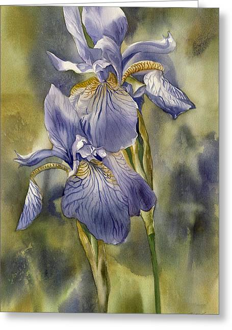 Double Blue Irises Greeting Card by Alfred Ng