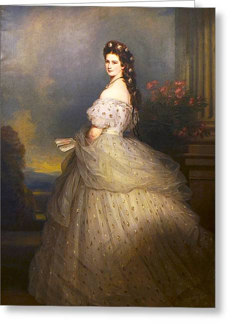 Empress Elisabeth Of Austria In State Robes With Diamond Stars In Her Hair Greeting Card