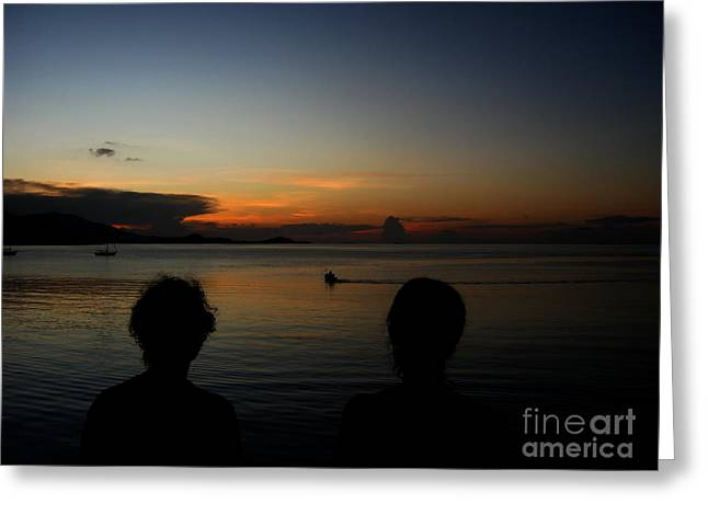 Enjoying Sunset Greeting Card by Michelle Meenawong