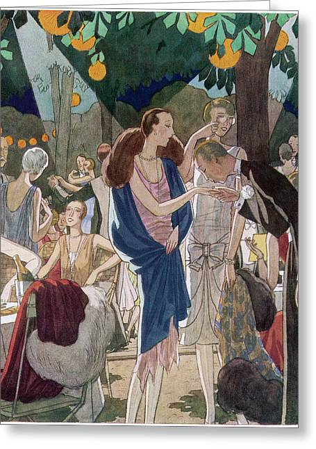 Fashionable People In An Open- Air Greeting Card by Mary Evans Picture Library