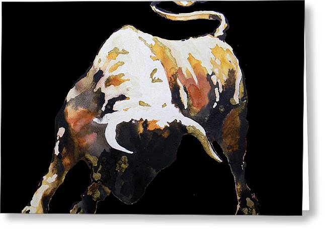 Fight Bull In Black Greeting Card by Jose Espinoza