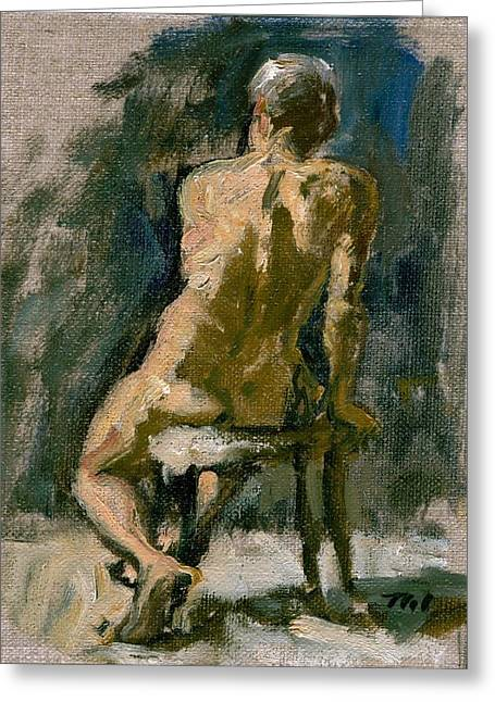 Figure Painting Male Nude Seated Original Oil On Canvas Greeting Card