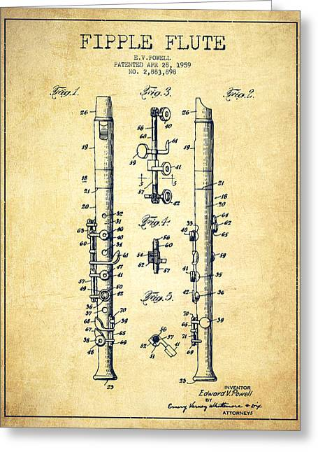Fipple Flute Patent Drawing From 1959 - Vintage Greeting Card by Aged Pixel