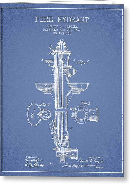 Fire Hydrant Patent From 1876 - Light Blue Greeting Card by Aged Pixel