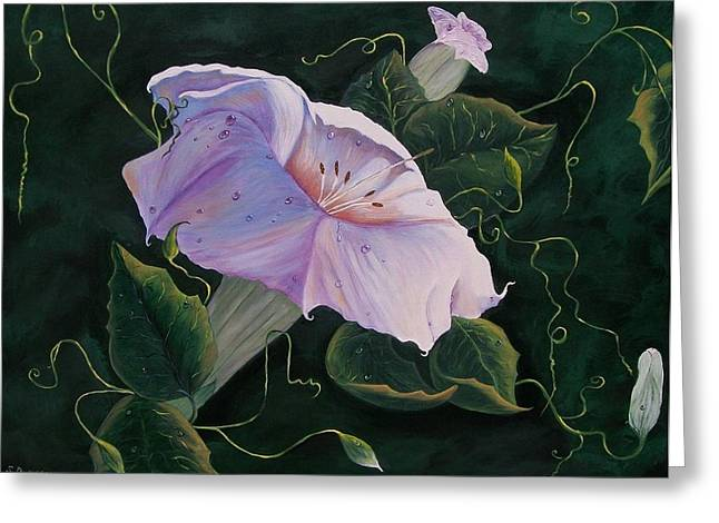 First  Trumpet Flower  Of Summer Greeting Card