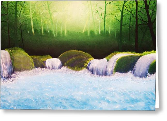 Forest Waterfall Greeting Card by Misuk Jenkins