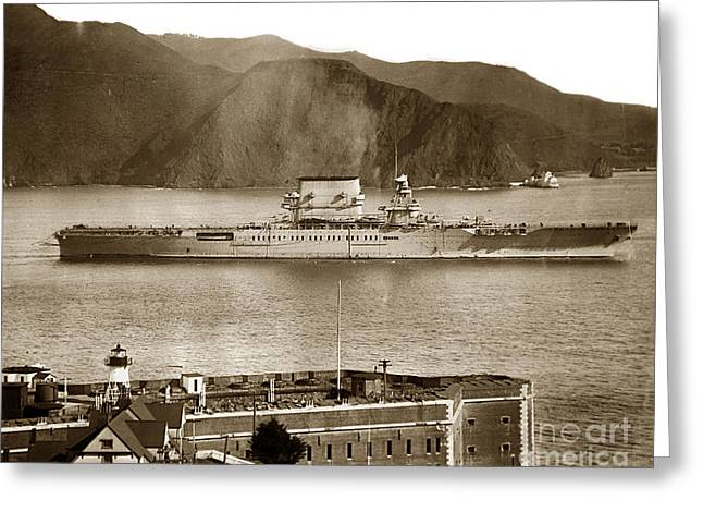 U.s.s. Lexington Cv-2 Fort Point Golden Gate San Francisco Bay California 1928 Greeting Card by California Views Mr Pat Hathaway Archives