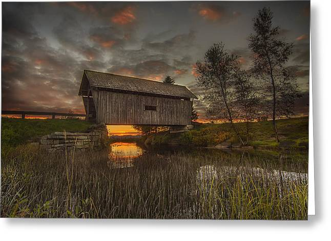 Foster Covered Bridge Sunset Greeting Card