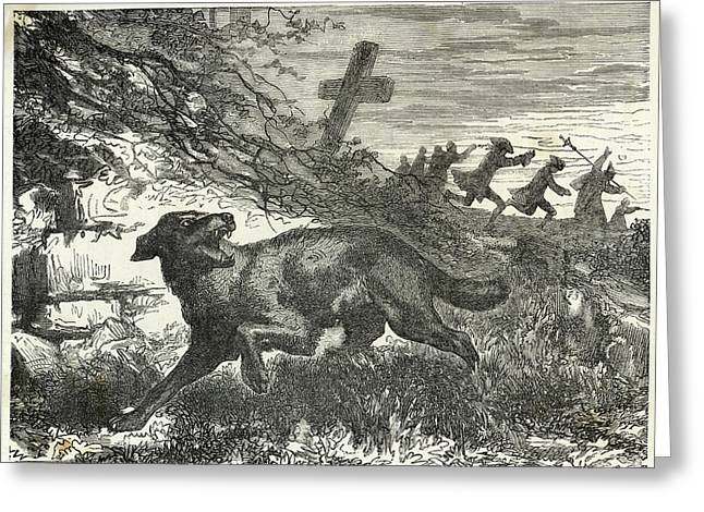 French Villagers Hunt A  Werewolf Greeting Card