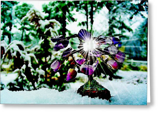 Gem Tree In Snow Greeting Card