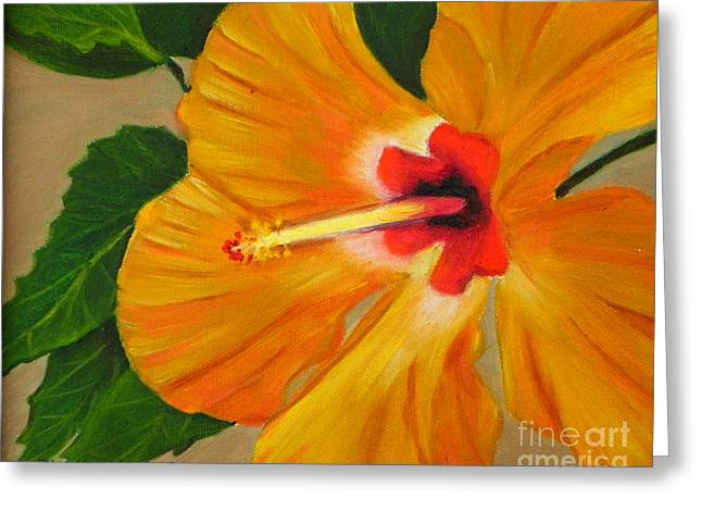 Golden Glow - Hibiscus Flower Greeting Card by Shelia Kempf