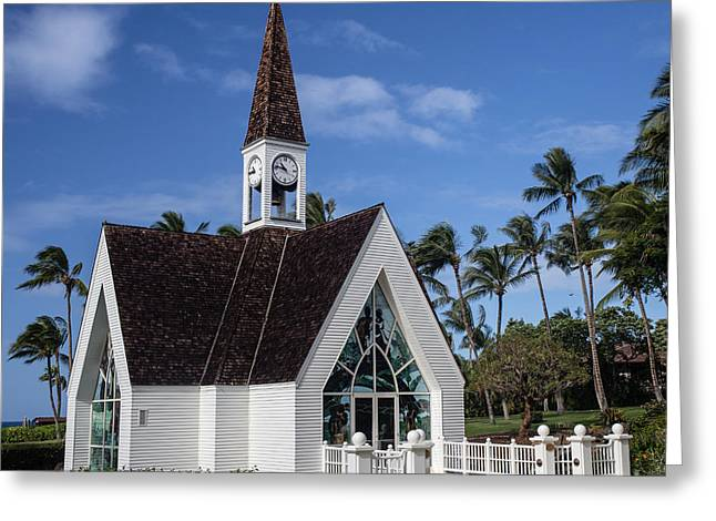 Grand Wailea Hawaiian Resort Wedding Chapel On Maui Greeting Card by Edward Fielding