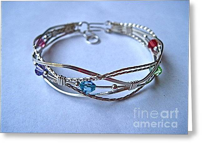 Grapevine Multi Bracelet In Sterling Greeting Card by Holly Chapman