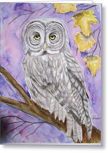 Greeting Card featuring the painting  Grey Owl by Belinda Lawson