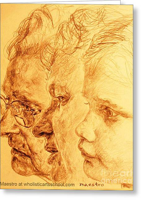 Have Your 3 Generations Drawn Or Painted Greeting Card by PainterArtistFINs Husband MAESTRO