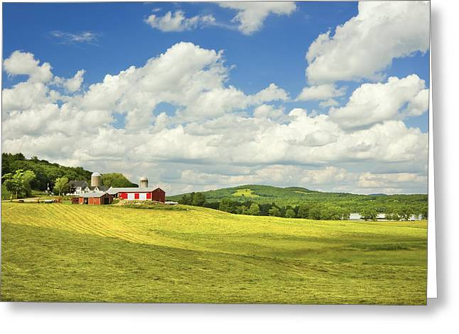 Hay Harvesting In Field Near Red Barn Maine Photograph Greeting Card