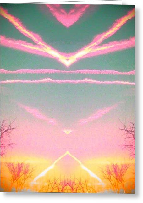 Greeting Card featuring the photograph  Heavenly  Contrails  by Karen Newell