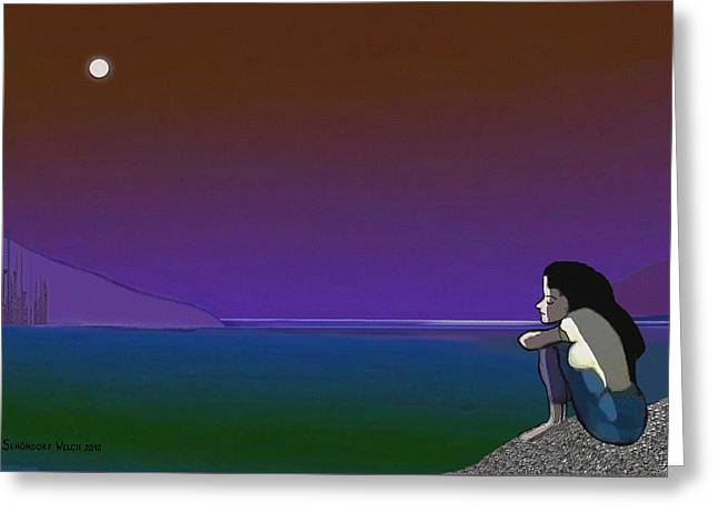 075 - Sitting At The Edge Of The Bay Greeting Card by Irmgard Schoendorf Welch