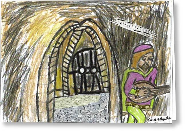 Hidden Lutist Greeting Card by Cibeles Gonzalez