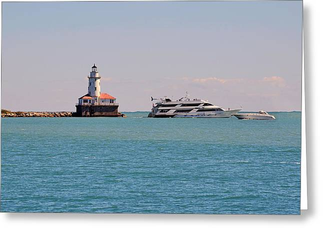 Historical Chicago Harbor Light Greeting Card by Christine Till