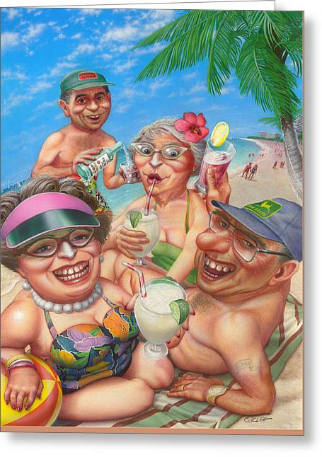 Humorous Snowbirds On Vacation - Senior  Citizen Citizens - Beach - Illustration  Greeting Card by Walt Curlee