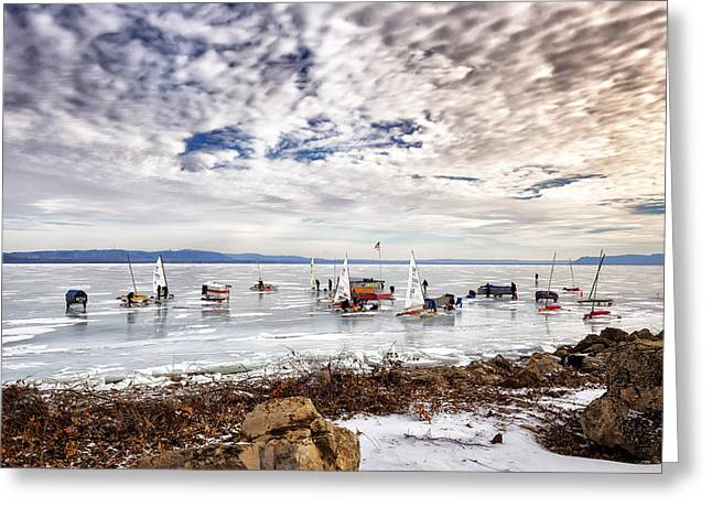 Ice Boats On Lake Pepin Greeting Card