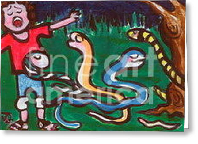 I'm Afraid Of Snakes Greeting Card by Joyce Gebauer