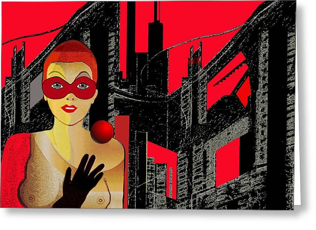 014 - In  Red   City Darkness Greeting Card by Irmgard Schoendorf Welch