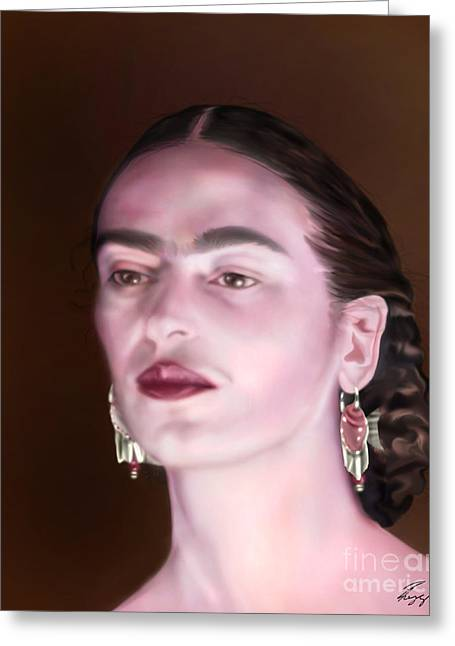 In The Eyes Of Beauty - Frida Greeting Card by Reggie Duffie