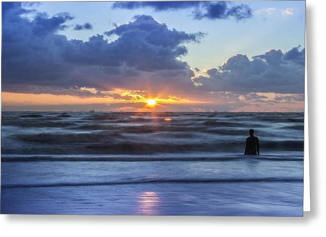 Incoming Tide At Crosby Beach Greeting Card