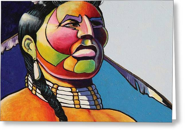 Indian Portrait Greeting Card by Joe  Triano