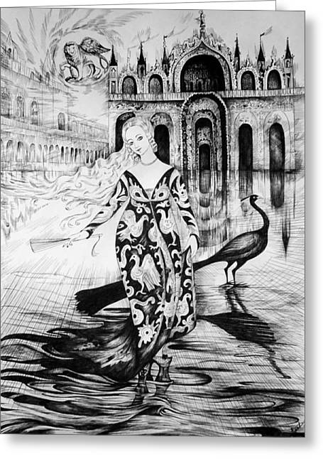 Italian Fantasies.venice. Acqua Alta Greeting Card by Anna  Duyunova