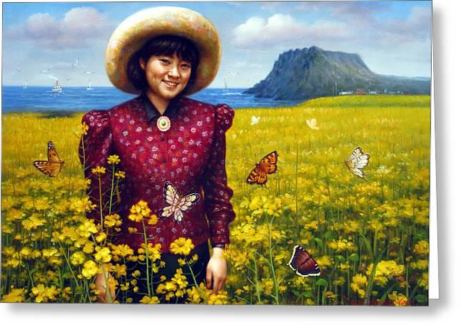 Jeju Island Girl Greeting Card by Yoo Choong Yeul