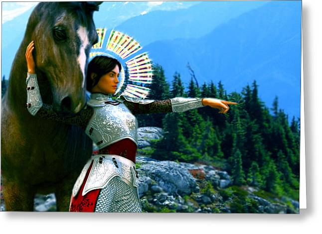 Greeting Card featuring the painting  Joan Of Arc Visionary by Suzanne Silvir