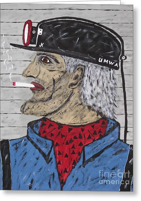 Coal Man Joe Greeting Card by Jeffrey Koss