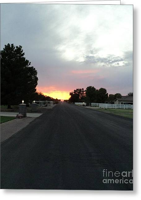 Journey Into The Sunset Greeting Card by Carla Carson