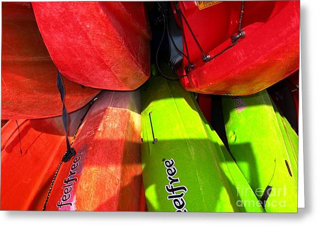 Greeting Card featuring the photograph  Kayaks by Michelle Meenawong