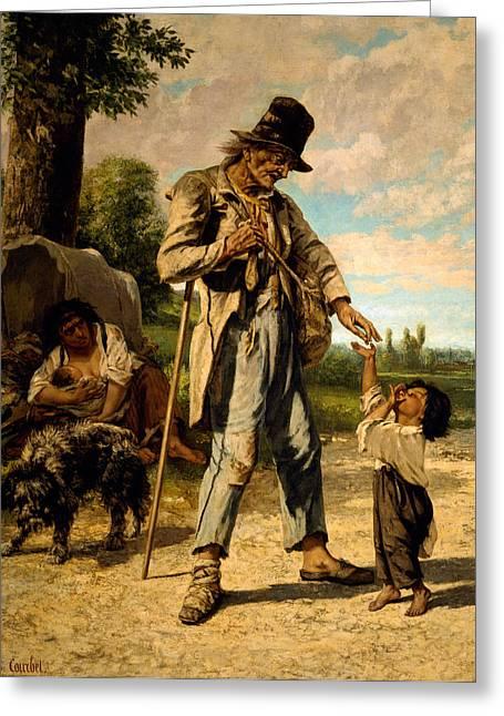 L Aumone D Un Mendiant Greeting Card by Gustave Courbet