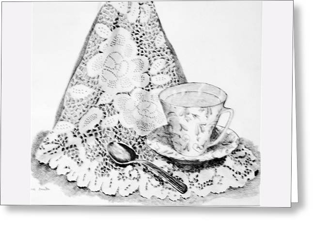 Lace With Cup Greeting Card