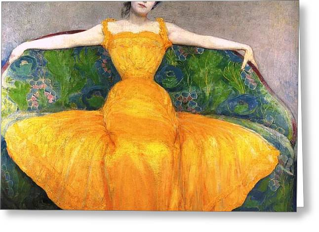 Lady In Yellow Dress Greeting Card by MotionAge Designs