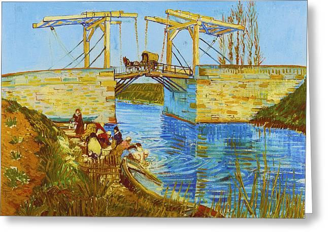 Langlois Bridge At Arles With Women Washing Greeting Card