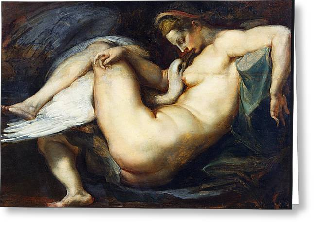 Leda And The Swan Greeting Card by Peter Paul Rubens