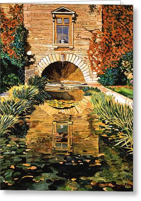 Lily Pond And Fountain Greeting Card by David Lloyd Glover