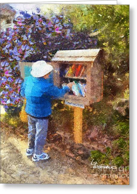 Greeting Card featuring the painting  Alameda  Little Free Library by Linda Weinstock