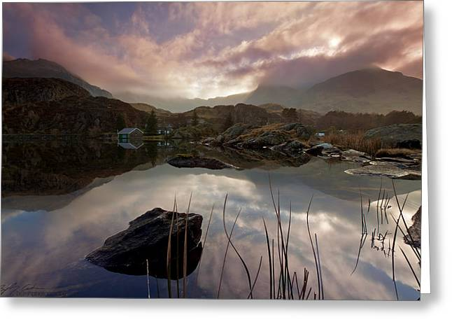 Llyn Ogwen Sunset Greeting Card by Beverly Cash
