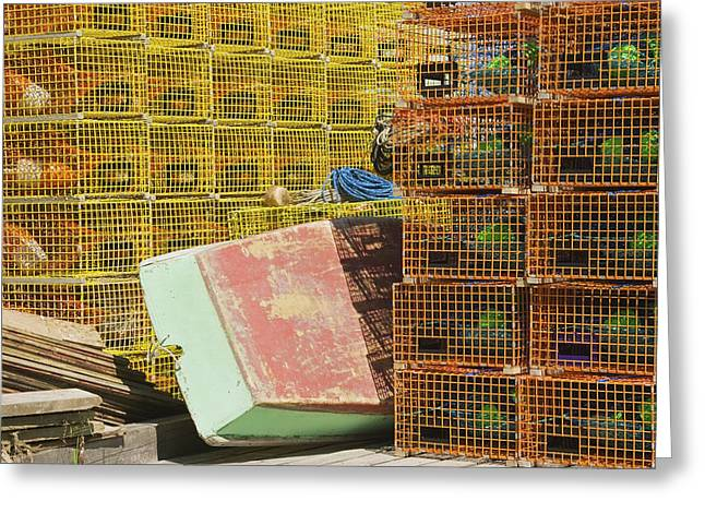 Lobster Traps And Dinghy On Coast In Maine Greeting Card