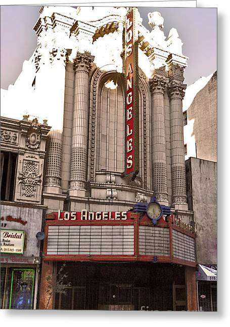 Los Angeles Theater Greeting Card by Gregory Dyer